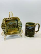 Irish Porcelain Wade Mug And Ashtray Irish Jaunting Car Shamrocks Green ... - $14.84