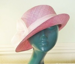 *EXQUISITE VINTAGE LILACY PINK TWEED SISSAL STRAW HAT LIGHTER BAND & ROS... - $17.51