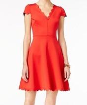 Betsey Johnson Red Womens Scalloped-Hem V-Neck A-Line Dress $148, 12, NEW - $759,95 MXN