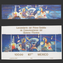 1985 Mexico Satellite Launch Souvenir Sheet and Strip of Stamps MNH