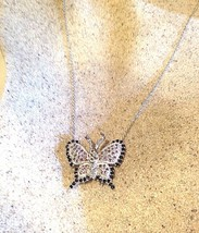 Vintage Genuine Real Blue Pink Sapphire 925 Sterling Silver Butterfly Pe... - $107.24
