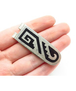 MEXICO 925 Silver - Vintage Black Onyx Inlay Patterned Money Clip - T1953 - $43.21