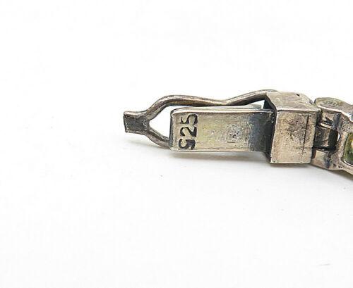 925 Silver - Vintage Amethyst Aquamarine & Citrine Chain Bracelet - B5042