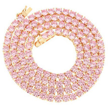 Iced Out Pink Lab Diamond Tennis Chain Necklace Sizes 18 to 22 inches - $204.99