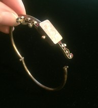Antique Victorian Suffragette hinged bangle bracelet with seed pearl and garnet image 6