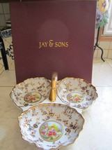 NEW IN GIFT BOX HIGHLY DECORATIVE LARGE PORCELAIN DIVIDED TRAY FROM JAY ... - $31.34