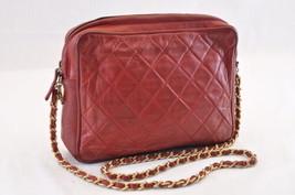 CHANEL Lamb Skin Matelasse Chain Shoulder Bag Red CC Auth ar801 - $640.00