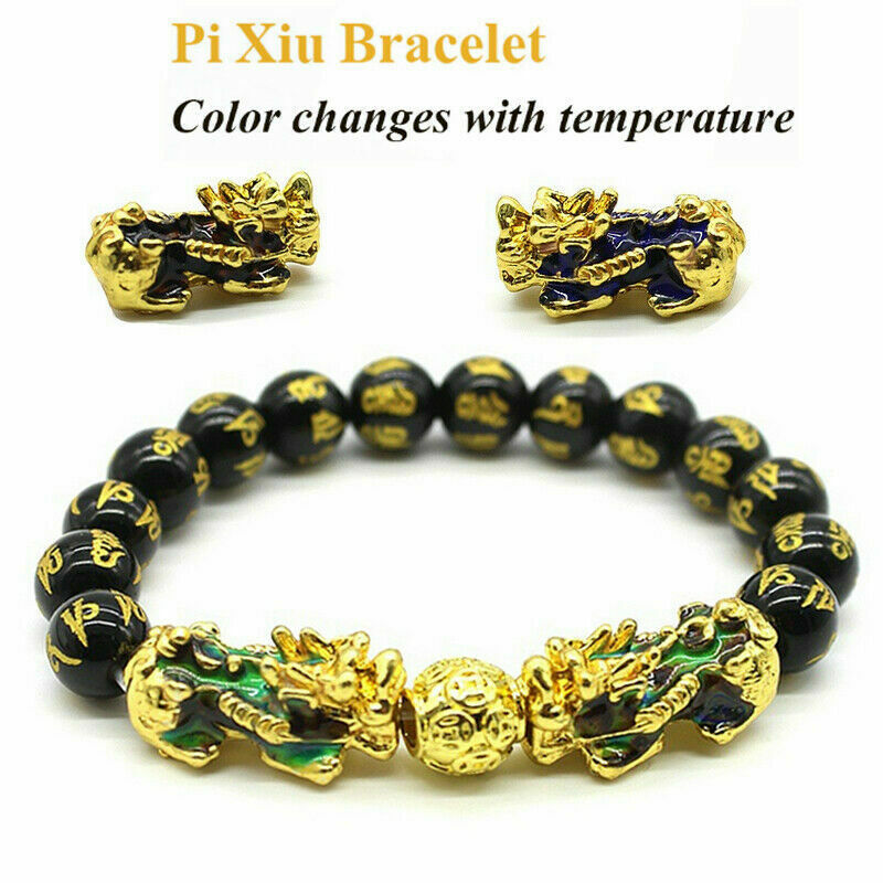 Black Obsidian Feng Shui Double Pi Xiu Bracelet Beads Attract Good Luck Wealth