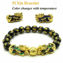 Black Obsidian Feng Shui Double Pi Xiu Bracelet Beads Attract Good Luck Wealth image 1
