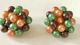 Vintage 50's Mid-Cent Green,Peach and Brown Luster Cluster Earrings Sign... - $12.19