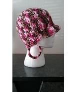 Pink & Brown Handmade Ladies Fashion Hat & Earrings Set - $23.00