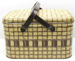 Vintage 1950s Tin Picnic Basket w/ Handles Brown Ivory Crosshatch Pattern Retro