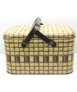 Vintage 1950s Tin Picnic Basket w/ Handles Brown Ivory Crosshatch Patter... - $37.39