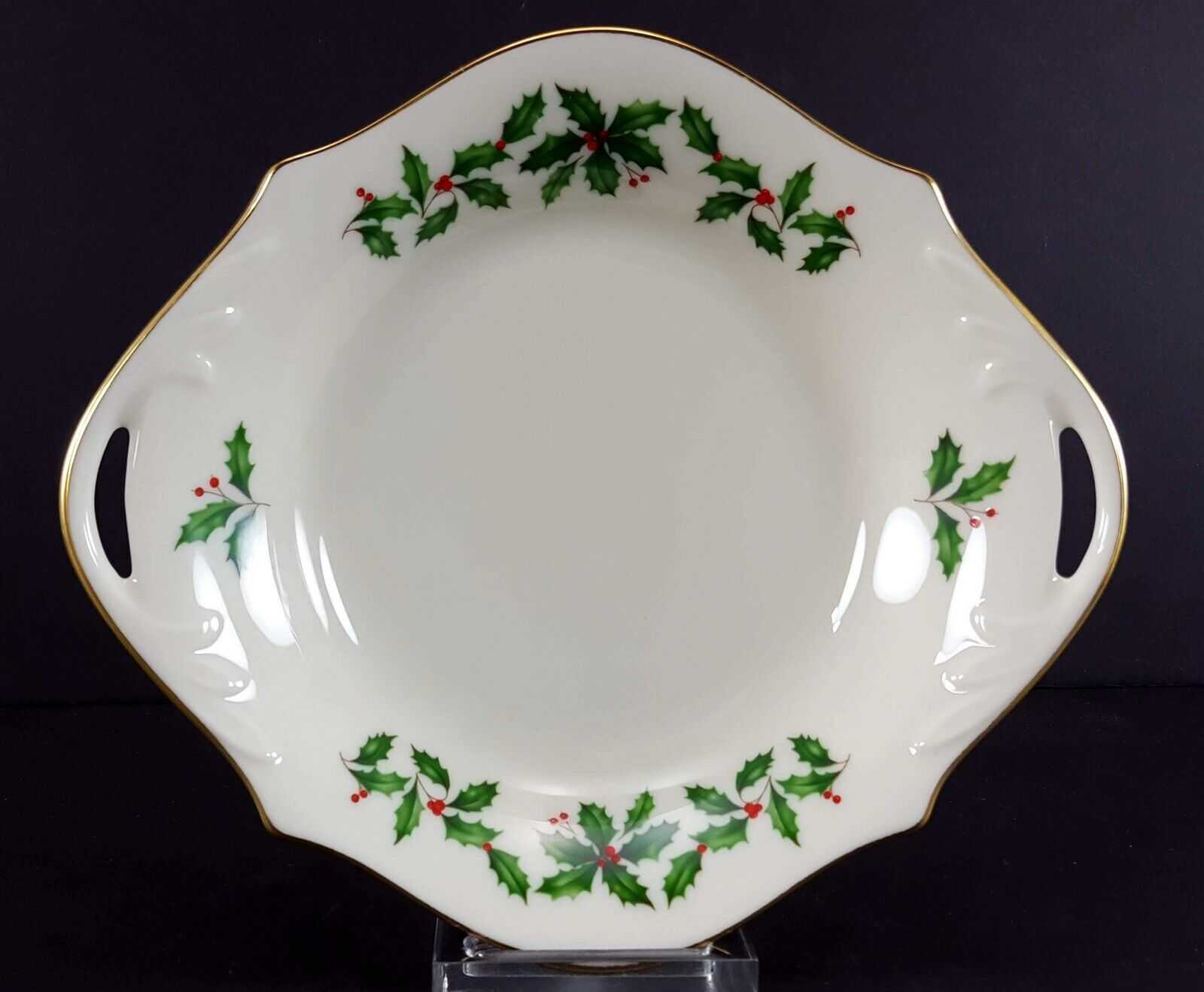 "LENOX China Holiday Dimension 8-1/4"" Open Candy/Nut Dish Handled Bowl Dinnerware"