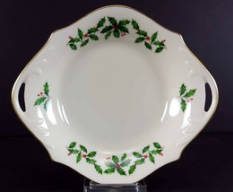 "LENOX China Holiday Dimension 8-1/4"" Open Candy/Nut Dish Handled Bowl Di... - $19.79"