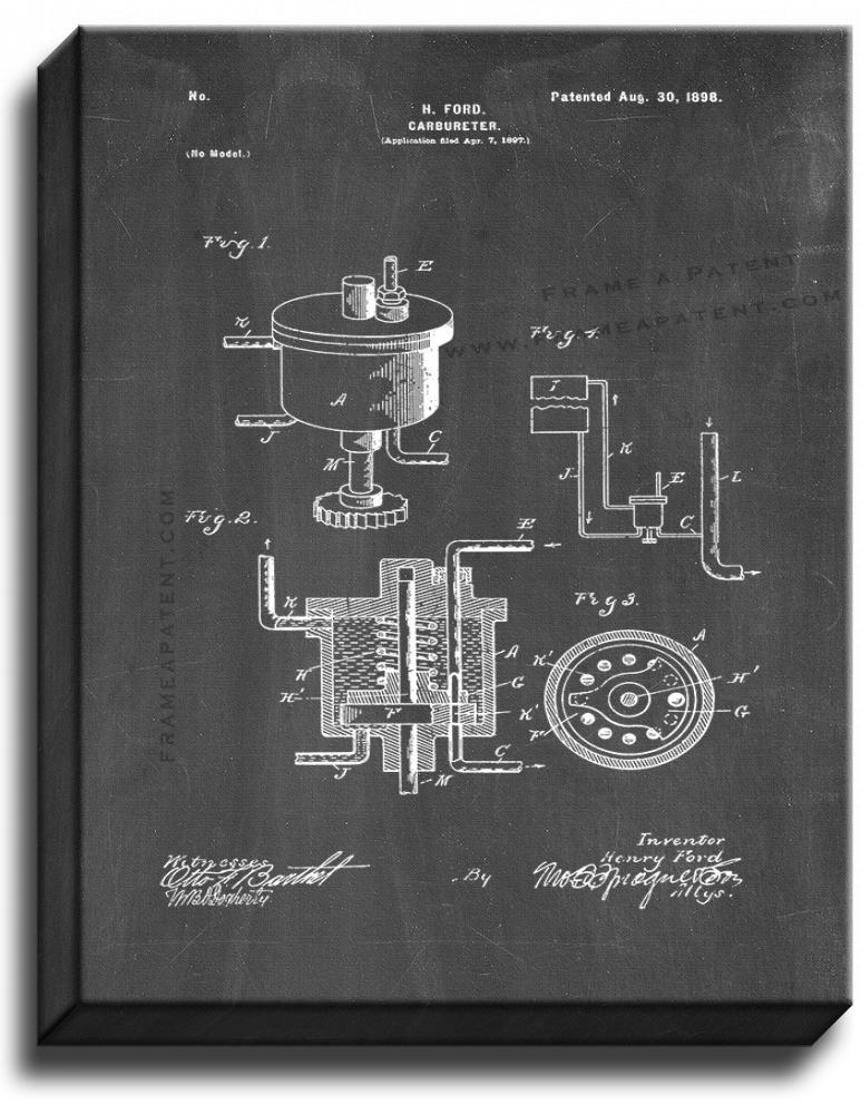 Primary image for Henry Ford Carbureter Patent Print Chalkboard on Canvas