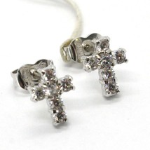 WHITE GOLD EARRINGS 18K, CROSS WITH ZIRCON CUBIC, MADE IN ITALY, GOLD 750 image 1