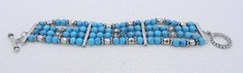 Vintage Silver Tone Faux Turquoise Bead Multi-Strand Toggle Bracelet - $19.80