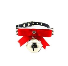 [Black Stripe]Adjustable Bow Tie with Bell Collar for Cat, Dog(Fit 21~26cm Neck)