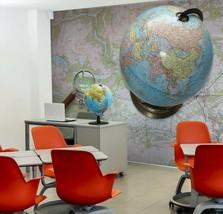 3D Blue Globe P64 Business Wallpaper Wall Mural Self-adhesive Commerce Zoe - $13.49+