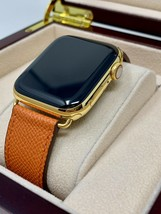 24K Gold Plated 44MM Apple Watch Series 4 Orange Leather Band Gps+Lte Custom - $1,196.14