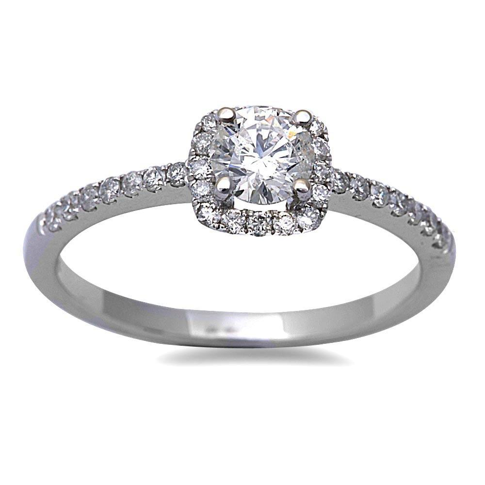 14K White Gold .60 Carat Round Diamond Promise Ring
