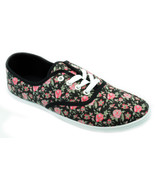 Womens Pink Black Floral Canvas Sneaker Plimsoll Tennis Shoes Rose Print... - €13,14 EUR