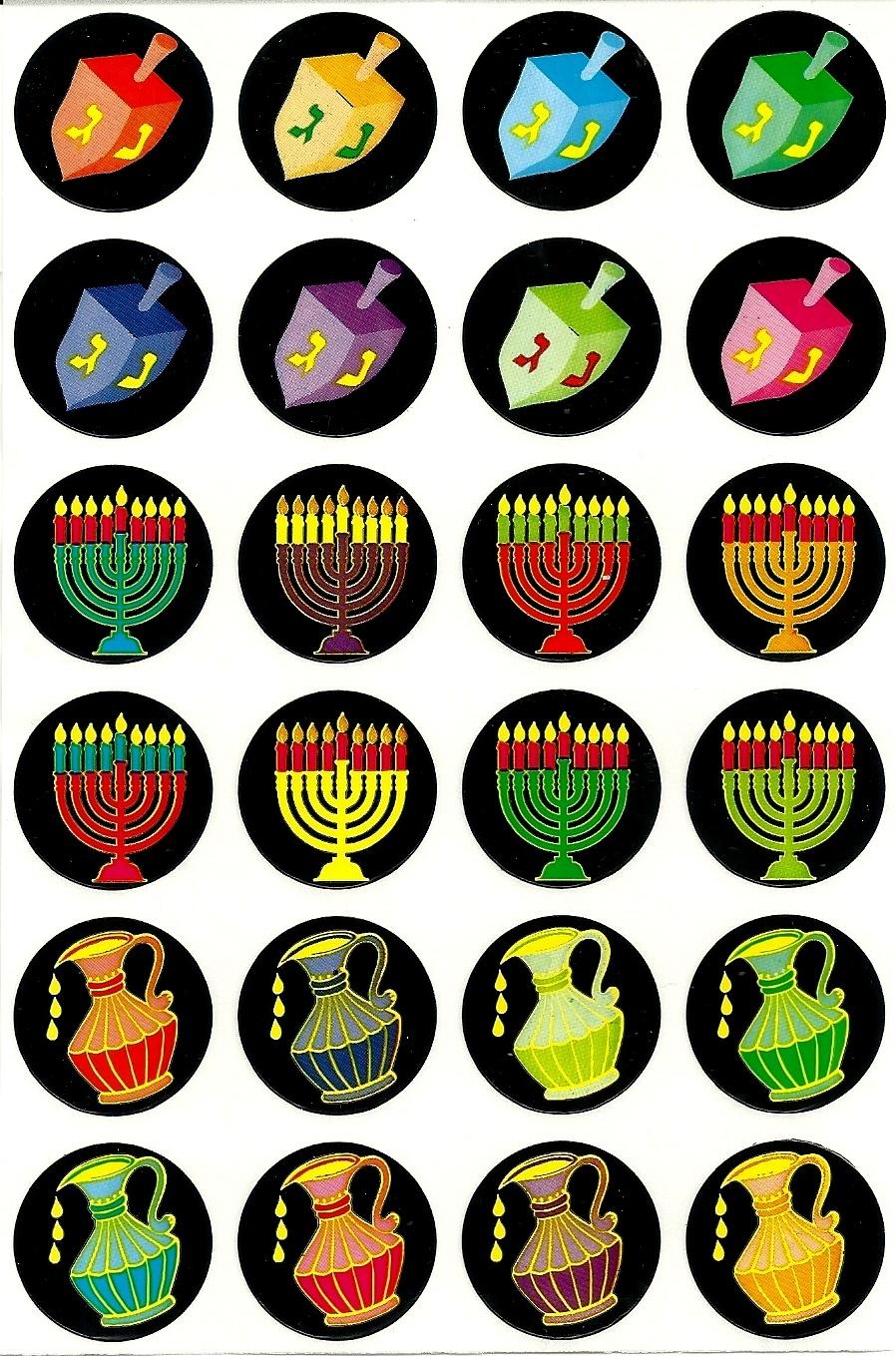 Judaica Hanukkah Symbols Stickers Children Teaching Aid ...