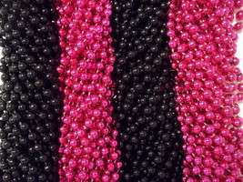 Pink Black Mardi Gras Beads Necklaces Party Favors 24 48 72 144 - $12.31 CAD+