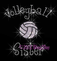 Volleyball Sister - C - Iron on Rhinestone Transfer Bling Hot Fix Sports... - $8.99