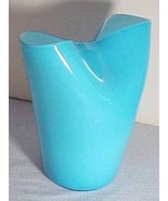 Vintage cased art glass aqua hankerchief vase 50's beautiful mid century... - $45.00