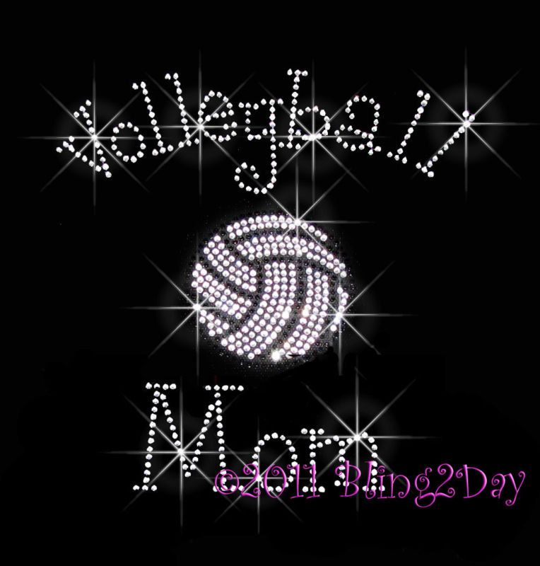 Primary image for Volleyball Mom - C - Iron on Rhinestone Transfer Bling Hot Fix Sports School