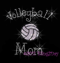 Volleyball Mom - C - Iron on Rhinestone Transfer Bling Hot Fix Sports Sc... - $8.99