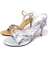 Party Bridal Wedding Shoes High Heels Sandals Sequined Silver Gold Size ... - $25.18