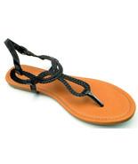 Braided Gladiator T-Strap Thongs Sandals Flip Flops Black White Silver G... - $19.94
