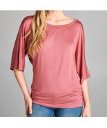 Dolman Sleeve Tops, Dolman Top with Banded Bottom, Dark Pink, Colbert Cl... - $14.99