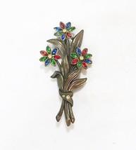 Vintage flower bouquet brooch pin colored rhinestone - $17.82