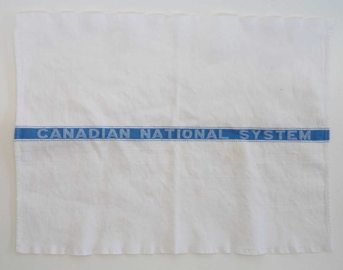 Canadian National RR advertising vintage towel blue white textile