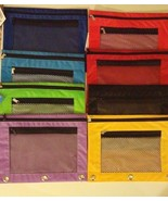 Clear Mesh Front Zippered Pencil Case Pouch Bag for 3 Ring Binder 2 Comp... - $3.59