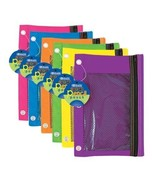 1 Mesh Covered Clear Front Zippered Pencil Case Pouch Bag for 3 Ring Binder - $3.99