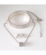 """16 To 19"""" Pendant 3 Row Stretch Bracelet Stud Earring Set With Swarovski... - $18.81"""