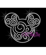Mickey Swirls - Clear - Iron on Rhinestone Transfer Bling Hot Fix Mouse ... - $7.99