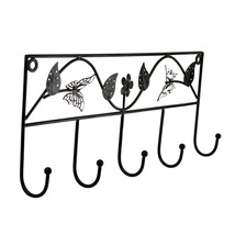 Butterfly and Flower Design Metal 5 Hook Key Rack Wall Mount Scarf Holder - $14.94