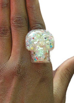 hologram white sugar opal rainbow skull skeleton pink adjustable band ri... - $14.99