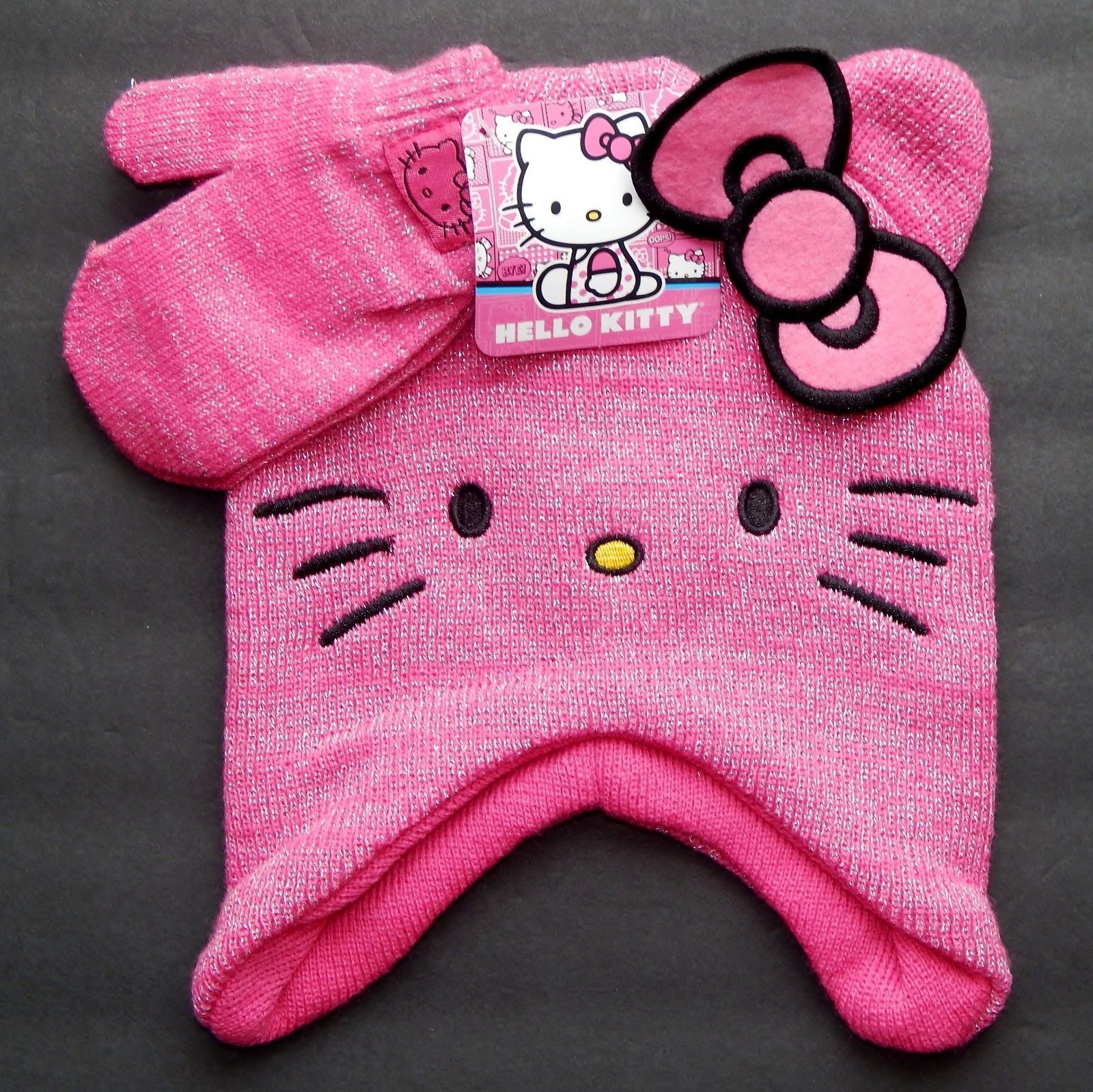 Knitting Games Hello Kitty : Hello kitty sanrio girls knit toddlers winter trappers hat