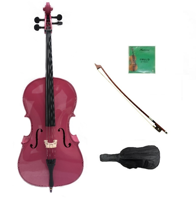Primary image for Merano 1/16 Size Hot Pink Cello,Bag,Bow+Rosin+Extra Strings for Replacement