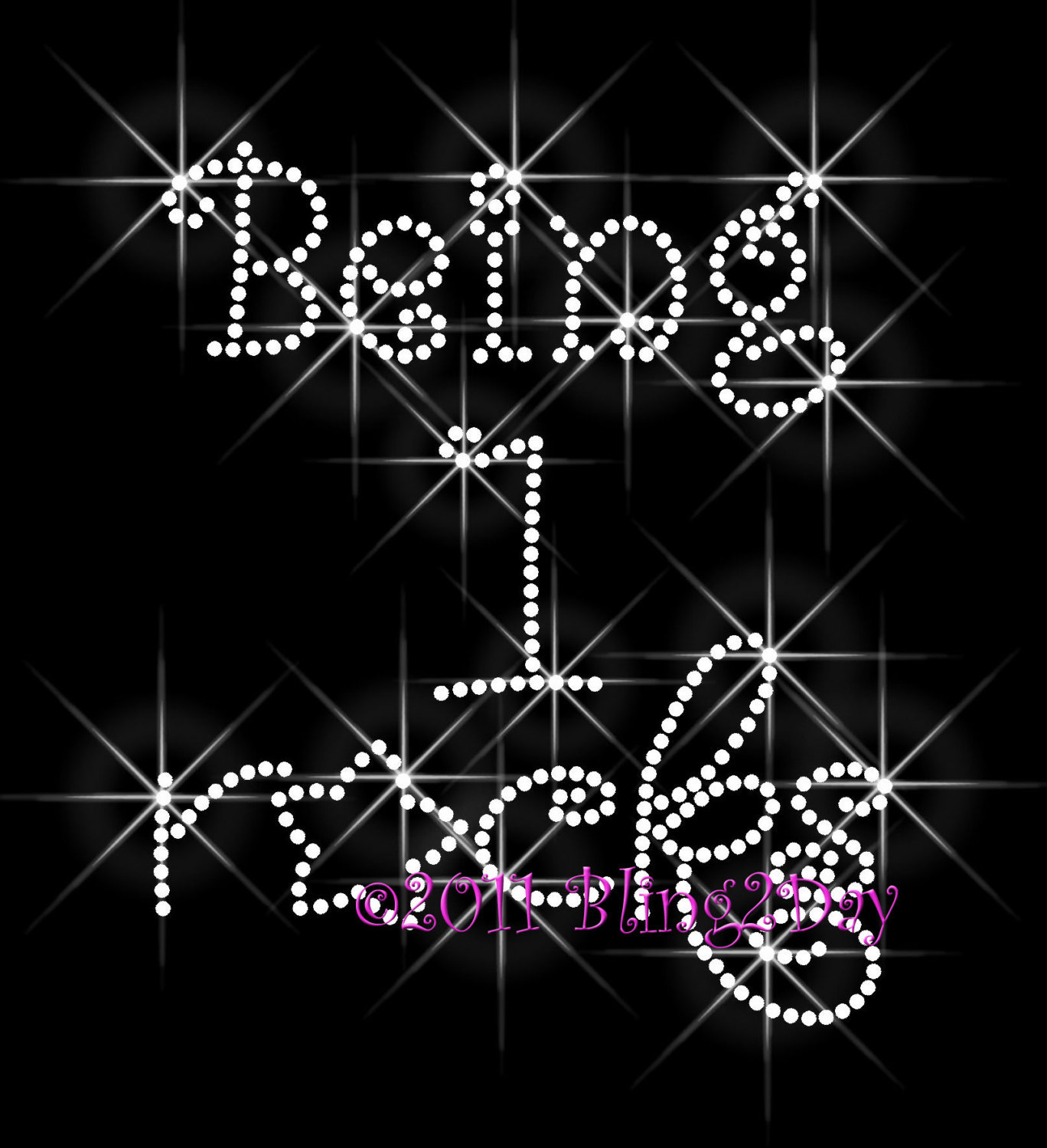 Primary image for Being 1 Rocks - With Star - Iron on Rhinestone Transfer - Bling Hot Fix One -DIY
