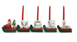 Vintage Wooden Noel Sleigh with Candles - Santa and Mini Bottle Brush Tree - $22.77