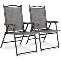 MB-Campstar Set of 2 Patio Folding Sling Back Chairs Camping Deck Garden... - $103.35