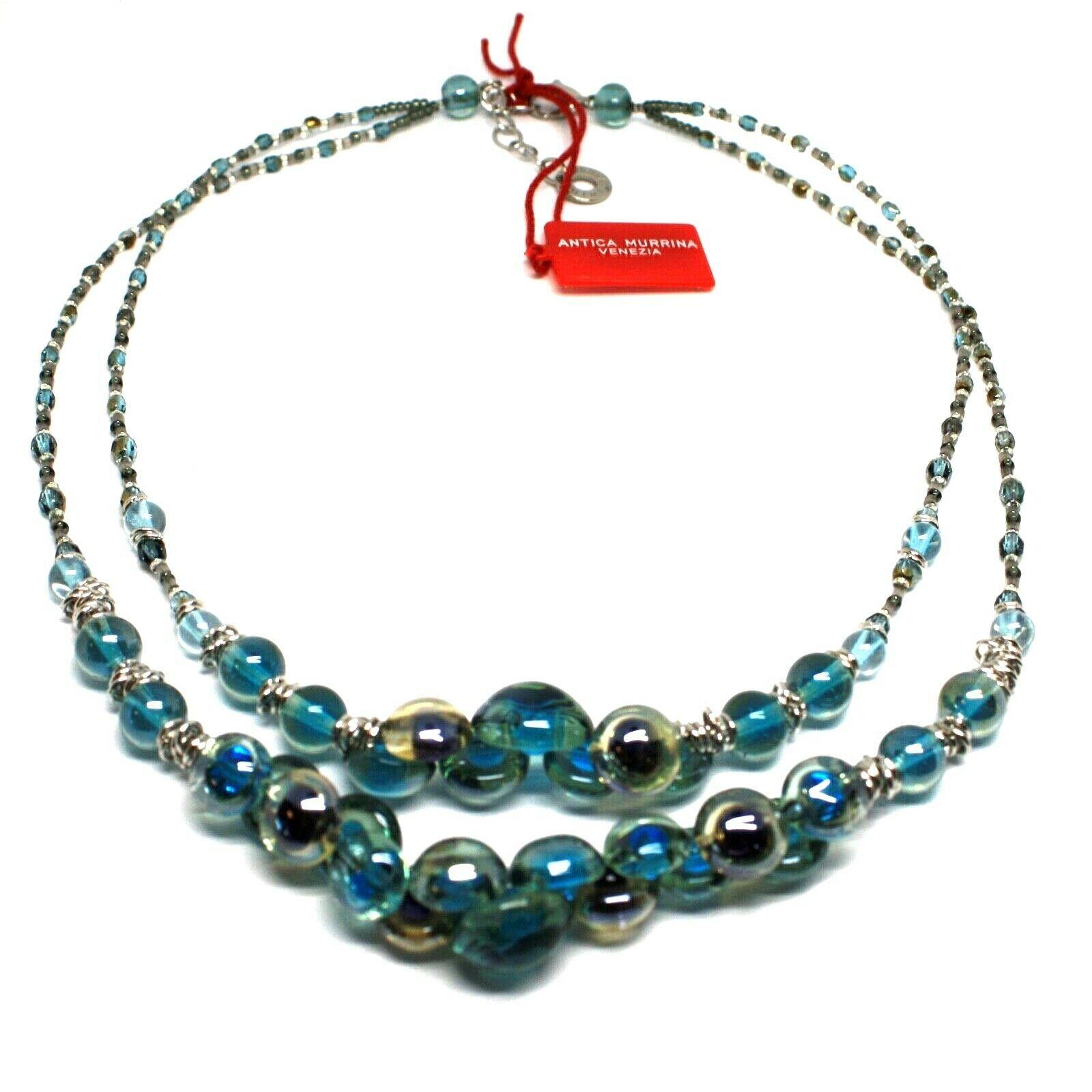 Necklace Antica Murrina Venezia with Murano Glass Light Blue and Blue CO869A12